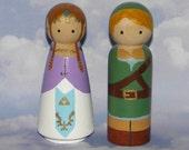 Link and Zelda Handpainted Bridal Couple 3 1/2 inch Large Peg Wood Dolls