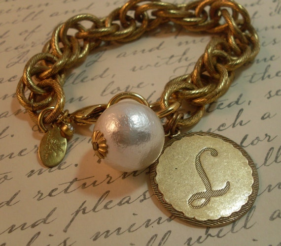 14KT Gold Plate Maximal Art Initial Charm Bracelet
