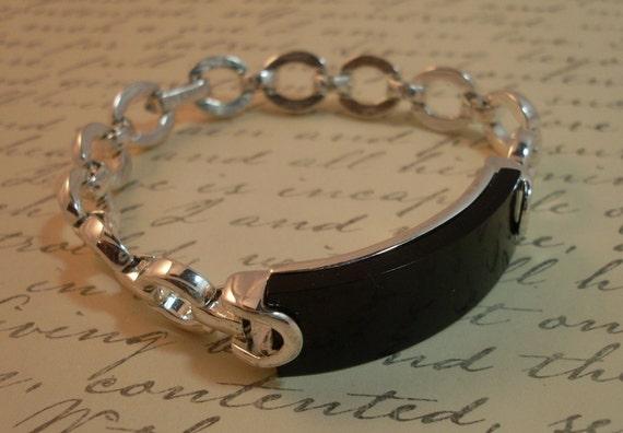 Vintage 1950 Bracelet Napier Chain Link ID Black
