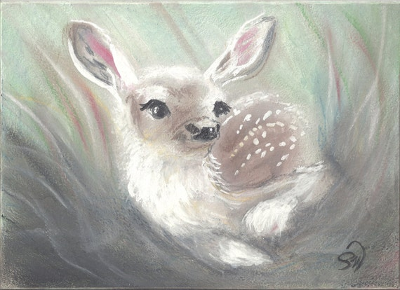 "PRINT Fine Art Miniture "" Fawn "" ACEO Tiny Treasure"