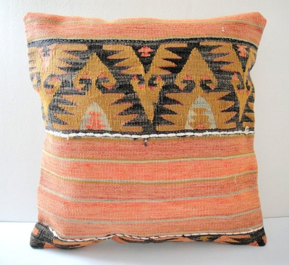 SALE Antique Turkish Kilim Pillow Cover - Hand Embroidered - 18x18 inch