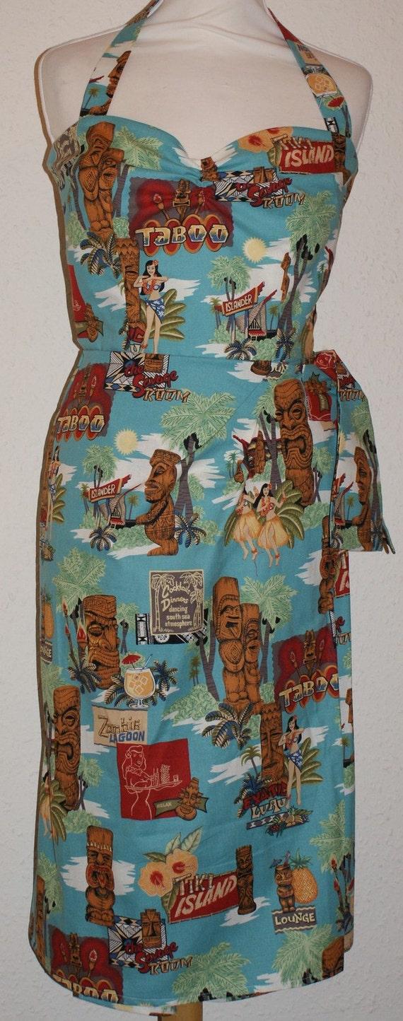 1950s Vintage Style Repro Hawaiian Sarong Dress Tiki Print