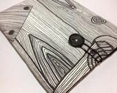 iPad Padded Sleeve Cover - Fits iPad 1, iPad 2, New iPad - Black, White, Wood Grain, Tree Bark Design - Only one available