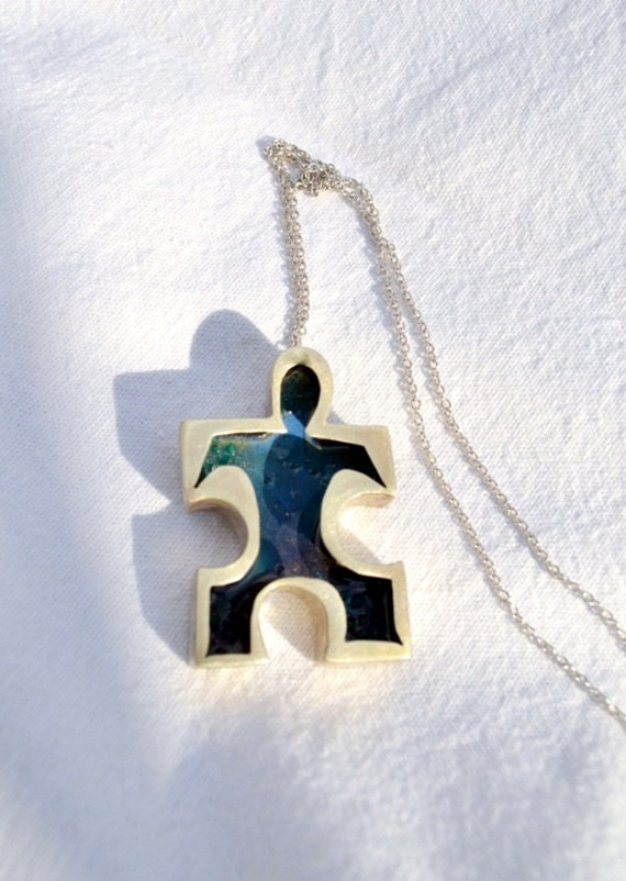 Silver puzzle necklace with blue enamel READY TO SHIP.