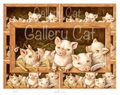 VINTAGE PIG Digital Collage Sheet Instant Download Paper Crafts Gift Tag Card Original Whimsical Altered Art by GalleryCat CS129
