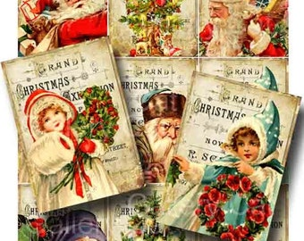 Vintage Christmas on Antique Holiday Advertisement  Digital Collage Sheet Instant Download Original Altered Art by Gallery Cat CS14