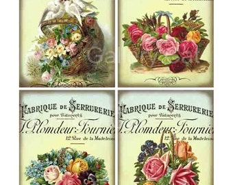 Old French Roses in Baskets - Digital Collage Sheet Instant Download Vintage Images Original Whimsical Altered Art by Gallery Cat CS22