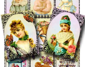 Victorian Frolic Digital Collage Sheet Instant Download Paper Crafts Decoupage Original Whimsical Altered Art by GalleryCat CS35