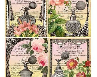 Sweet Vintage Perfume and Roses Digital Collage Sheet Download and Print Paper Crafts Original Whimsical Altered Art by GalleryCat CS39