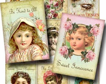 Little Ladies Digital Collage Sheet Instant Download for Paper Crafts Assemblage Tags Altered Art by GalleryCat CS54
