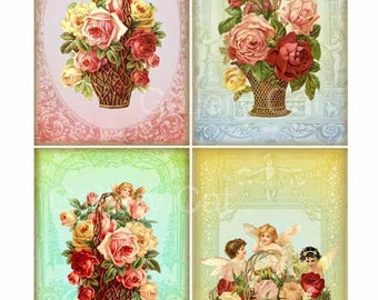 Fairy Baskets  Digital Collage Sheet  Instant Download Paper Crafts Card Journal Original Whimsical Altered Art by GalleryCat CS56