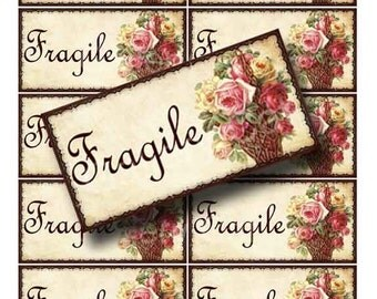 ROSE BASKET Fragile Shipping Label Digital Collage Sheet Instant Download Paper Crafts Original Whimsical Altered Art by GalleryCat CS59