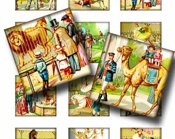 Victorian Trip to the Zoo and Circus Digital Collage Sheet Instant Download Paper Crafts Original Whimsical Altered Art by Gallery Cat CS64