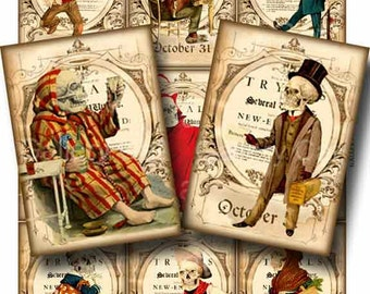 BUSY BONES Digital Collage Sheet Instant Download for Paper Crafts Skeleton Tags Original Whimsical Altered Art by Gallery Cat CS69