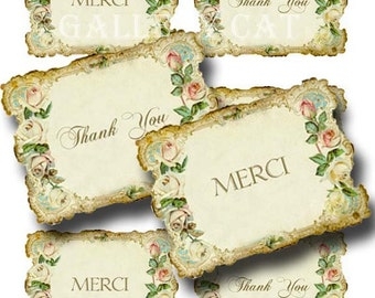 Vintage THANK YOU Card Digital Collage Sheet Instant Download Paper Crafts Original Whimsical Altered Art by GalleryCat CS120