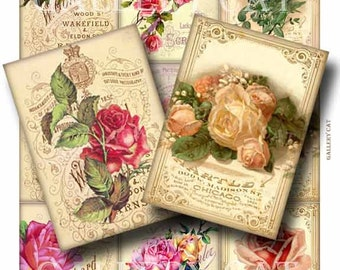 FADED ROSES Digital Collage Sheet Instant Download for Scrapbook Paper Creations Original Whimsical Altered Art by GalleryCat CS123