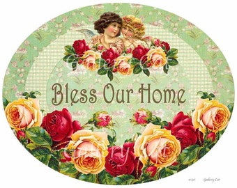 Vintage BLESS Our HOME Sign Digital Collage Sheet for Wood Crafts Instant Download Altered Art by GalleryCat CS136