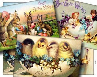 Instant Download VINTAGE EASTER Digital Collage Sheet Old Postcard Images Scrapbooking Card Tags Altered Art GalleryCat CS154