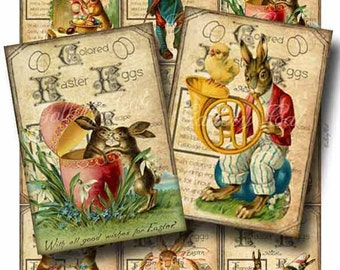 Vintage EASTER EGG Digital Collage Sheet Printable Instant Download Scrapbooking Tags Cards Original Whimsical Altered Art GalleryCat CS155