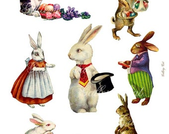 Vintage EASTER BUNNY Instant Download Rabbit Clip Art for Gift Tags Greeting Cards Scrapbooking Arts and Crafts by GalleryCat  CS159