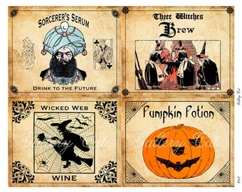 Vintage Halloween Digital Collage Sheet Spooky Labels for Wine Bottle Party Arts and Crafts Instant Download GalleryCat CS162