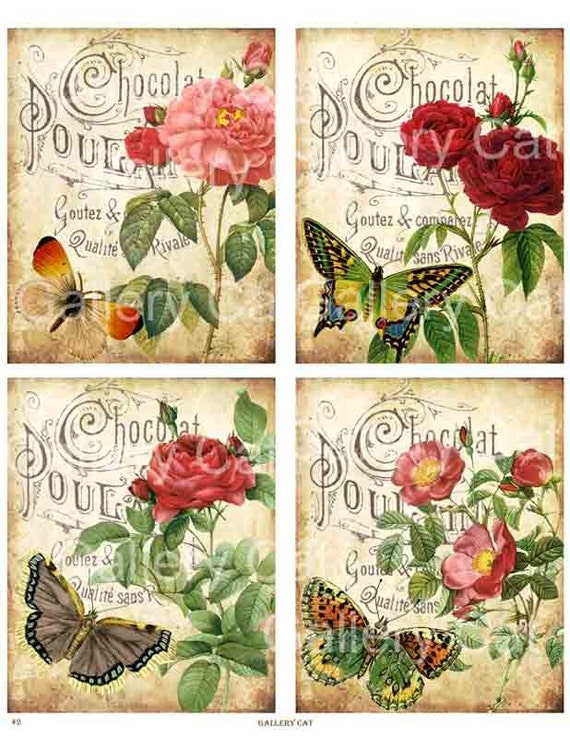 Antique Roses on Old French Paper Digital Collage Sheet Printable Download Original Whimsical Altered Art by GalleryCat CS2