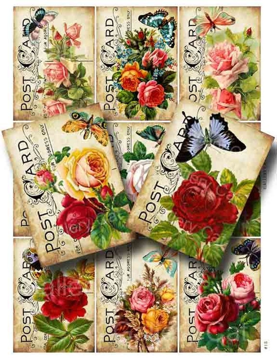 Victorian Roses with Butterfly on Old Postcard Digital Collage Sheet Instant Download for Paper Crafts Tags Art Projects GalleryCat CS13