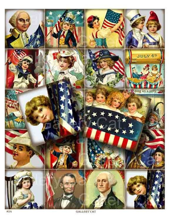 Vintage Fourth of July - Digital Collage Sheet Instant Download Paper Crafts Jewelry Card Original Altered Art Gallery Cat CS24