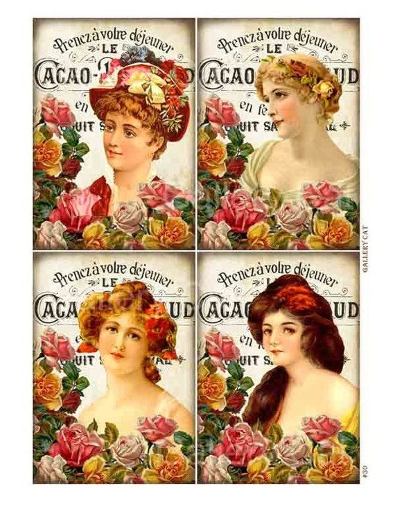 Vintage French Women Digital Collage Sheet Instant Download Original Whimsical Altered Art by Gallery Cat CS30