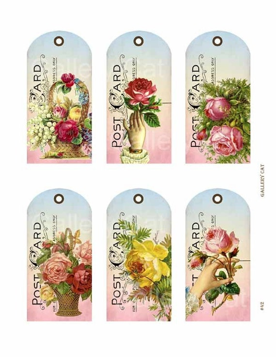 Victorian Rose Postcard Hang Tags Digital Collage Sheet Download and Print Paper Crafts Original Whimsical Altered Art by GalleryCat CS42