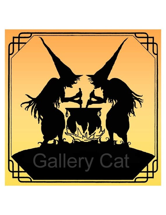 Halloween Witch Twins 2 - Digital Collage Sheet CSi2 Instant Download 8 x 8 Inch Paper Crafts Iron on Transfer GalleryCat