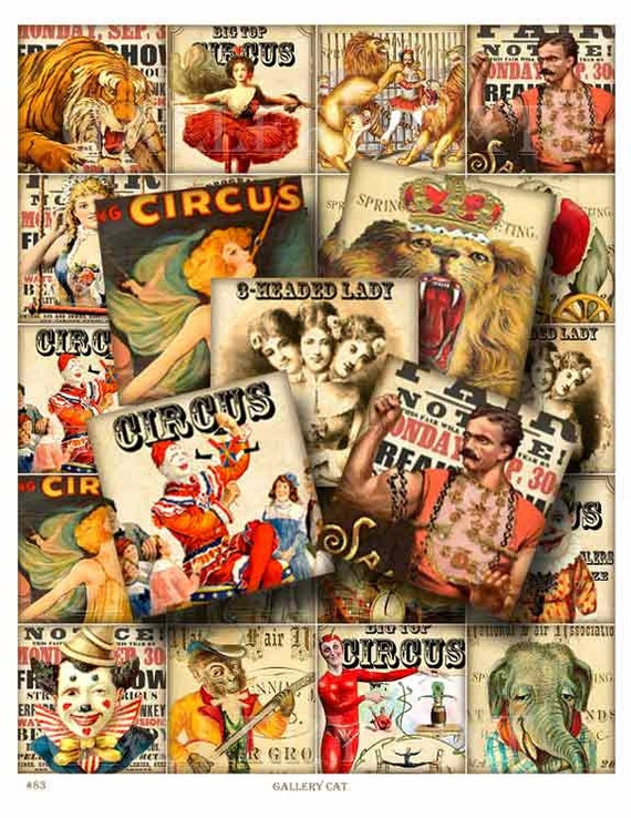 CIRCUS BLOCKS Digital Collage Sheet Instant Download 2 Inch Squares Paper Crafts Original Whimsical Altered Art by Gallery Cat CS83