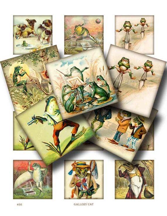 Frolicking Frogs Digital Collage Sheet Instant Download for Paper Crafts Pendant Tile Original Whimsical Altered Art by GalleryCat CS86