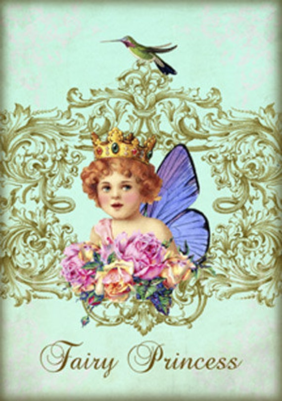 FAIRY DUST Digital Collage Sheet Instant Download Paper Crafts Card Original Whimsical Altered Art by Gallery Cat CS90
