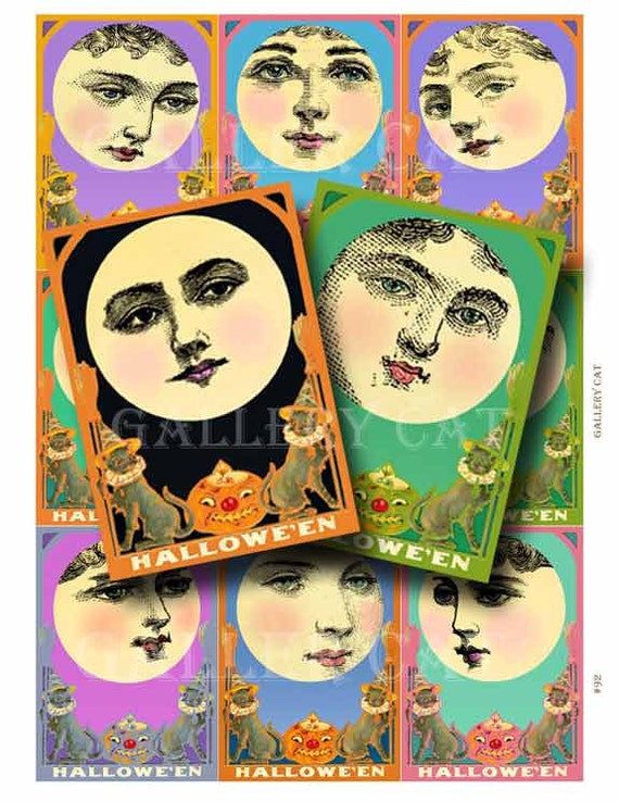 Halloween Moon Lady Digital Collage Sheet Instant Download for Paper Crafts Cards Original Whimsical Altered Art by GalleryCat CS92