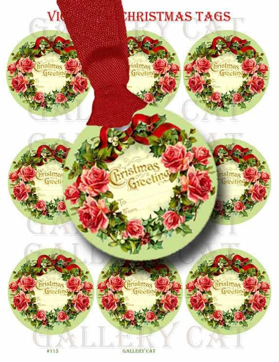 Victorian CHRISTMAS WREATH Tags Digital Collage Sheet Instant Download Paper Crafts Original Whimsical Altered Art by GalleryCat CS115