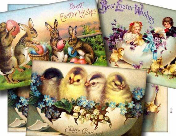 Instant Download VINTAGE EASTER Digital Collage Sheet Old Postcard Images Scrapbooking Card Tags Altered Art GalleryCat CS154