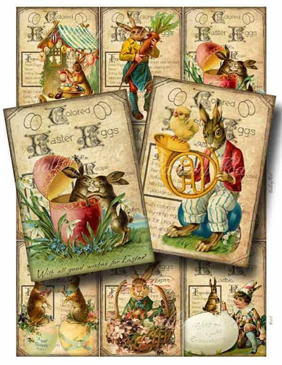 Vintage EASTER EGG Digital Collage Sheet Printable Instant Download Scrapbooking Tags Cards Original Whimsical Altered Art GalleryCat CS155