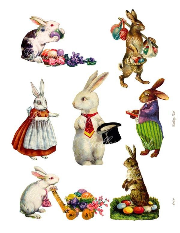 Vintage easter bunny instant download rabbit clip art for gift zoom negle Images