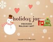 SALE Holiday Joy  - Premade Etsy Holiday Banner set / Winter Banner set