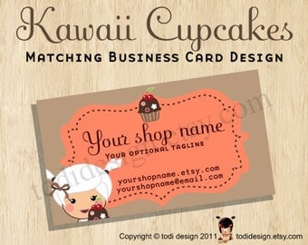 Business Card design to match Kawaii Cupcakes Premade shop set