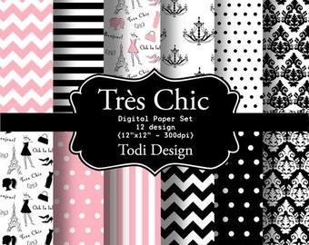 Très Chic-INSTANT DOWNLOAD Digital Paper Set