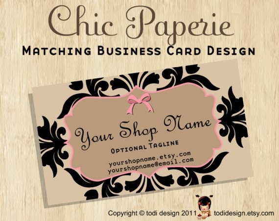 Business Card design to match Chic Paperie Premade shop set