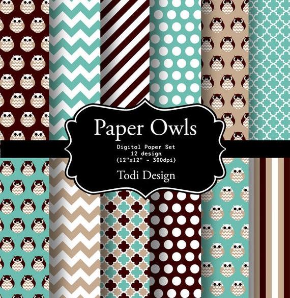 SALE Paper Owls- Digital Paper Set • I N S T A N T • D O W N L O A D
