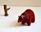 reserved for anna - red spirit bear - felt bear soft sculpture