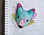 fantasy fox head  - original art sticker