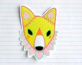 lotus flower fox 2 -  fox art sticker