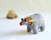 yellow feather spirit bear - soft sculpture animal - plush bear