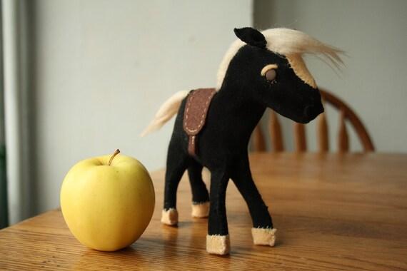 FOR SARA - Soft Black and Tan Felt  Pony