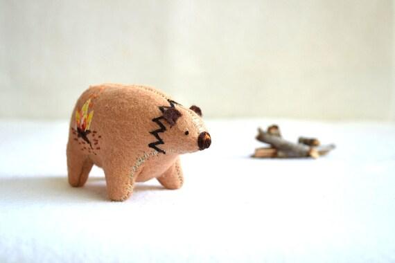 reserved for anna - fireside spirit bear - wool felt soft sculpture